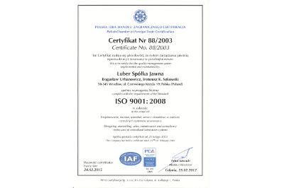 Certyfikat systemu zapewnienia jakości ISO9001:2008